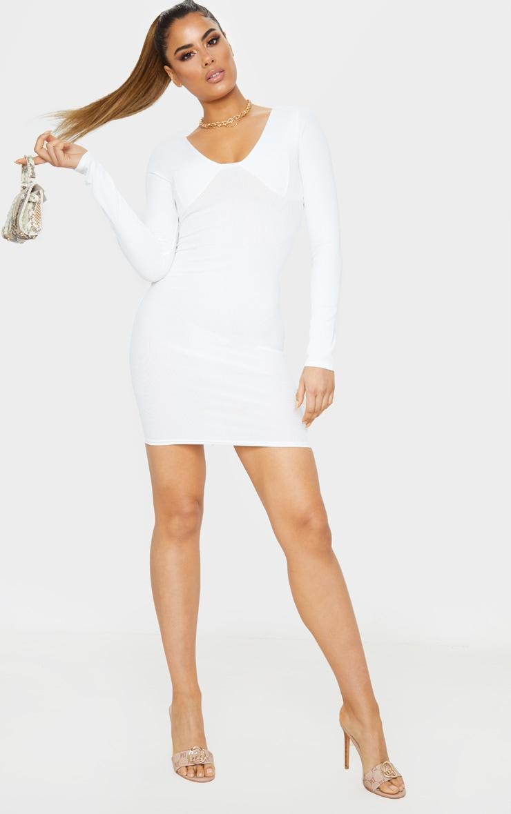 Tall Cream Ribbed Cup Detail Long Sleeve Mini Dress  4