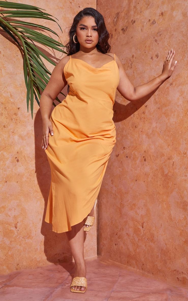 Plus Orange Woven Cowl Neck Midi Dress 1