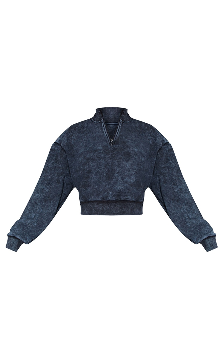 Charcoal Grey Acid Wash Zip Funnel Neck Cropped Sweater 5
