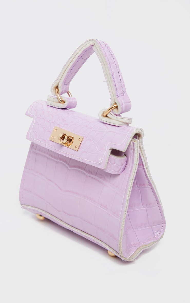 Mini-sac lilas effet croco 4