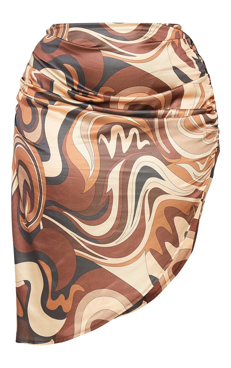 Plus Brown Marble Print Ruched Side Split Midi Skirt 5