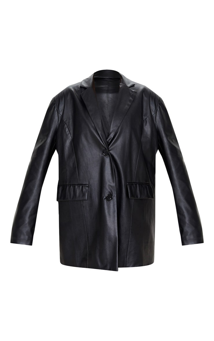 Black Faux Leather Oversized Dad Blazer 3