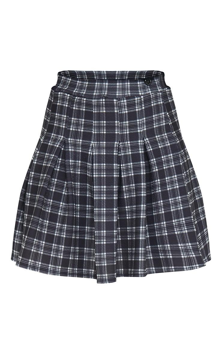 Black Checked Tennis Side Split Skirt 6