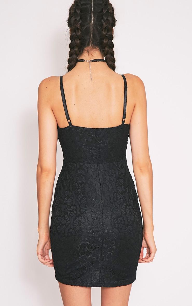Catherina Black Lace Panel Bodycon Dress 2