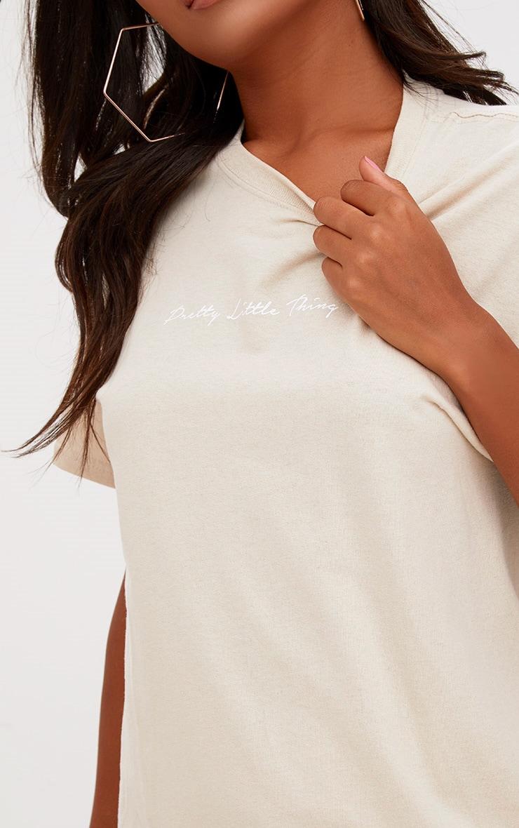 PRETTYLITTLETHING Sand Slogan Oversized T Shirt  4