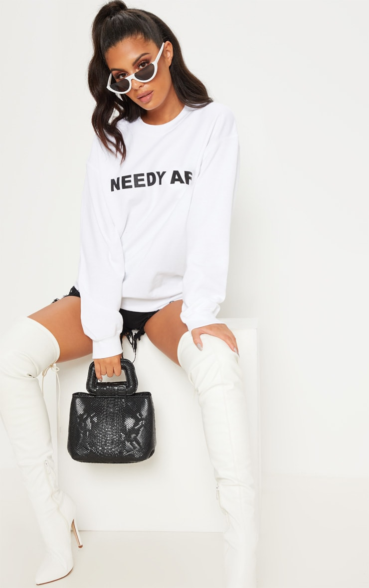 White Needy AF Slogan Sweater 4
