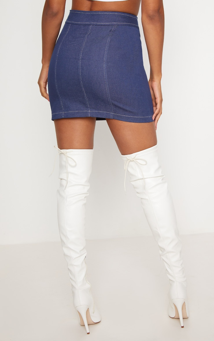 Mid Wash Denim Buckle Skirt  4