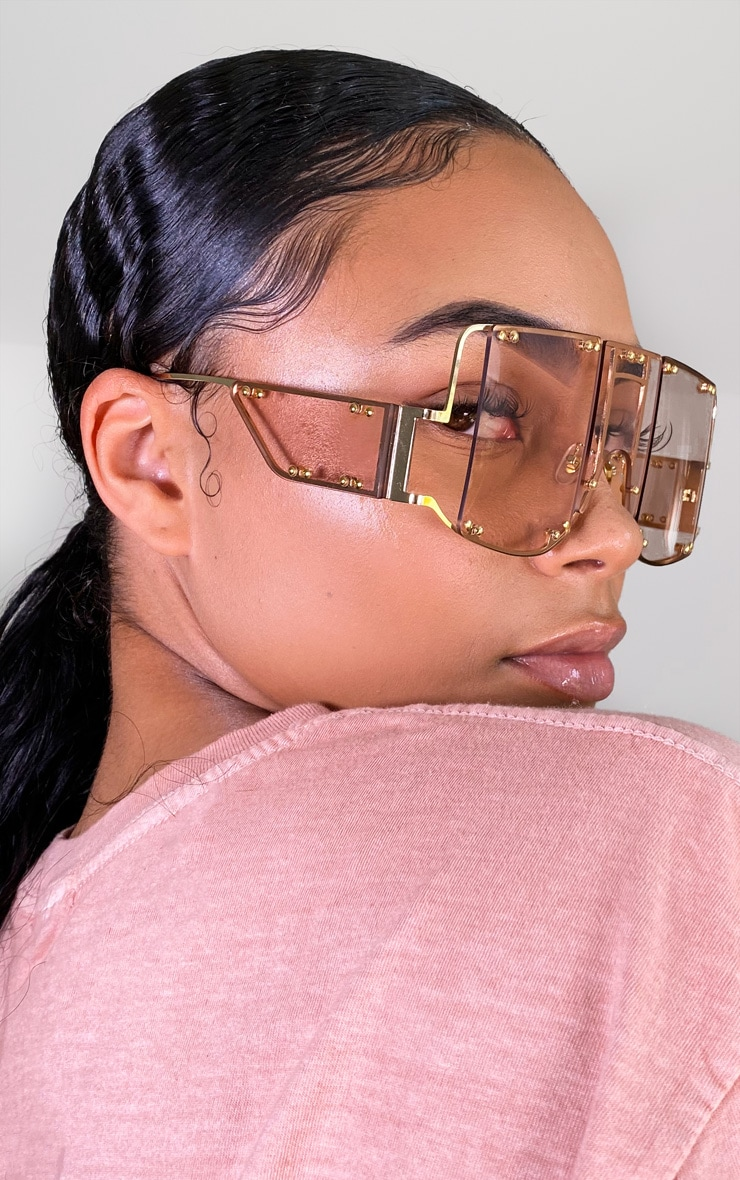 Rose Gold Oversized Cut Out Sunglasses 3