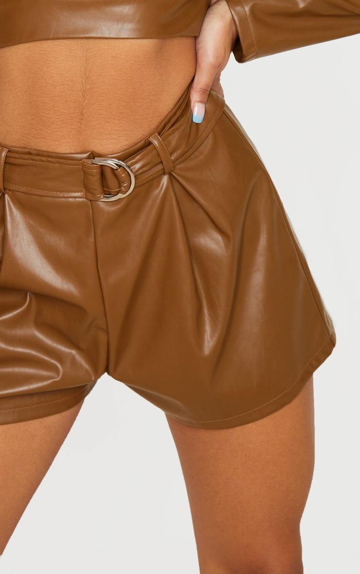 Tan PU Belted Ring Detail Shorts 7