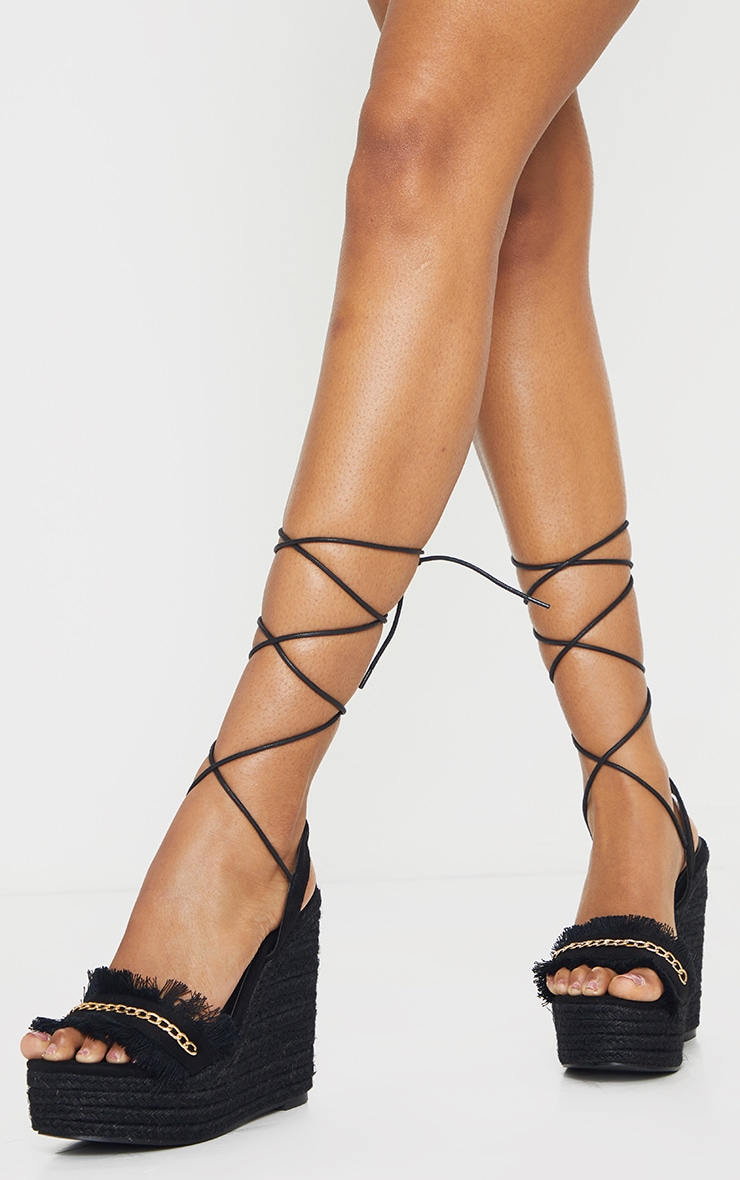 Black Fringe And Chain Detail Wedge 1