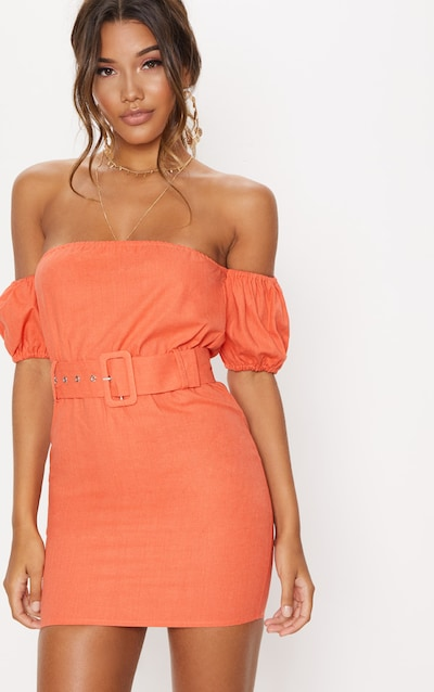 e9e7abe72ba5 Orange Belt Detail Bardot Shift Dress