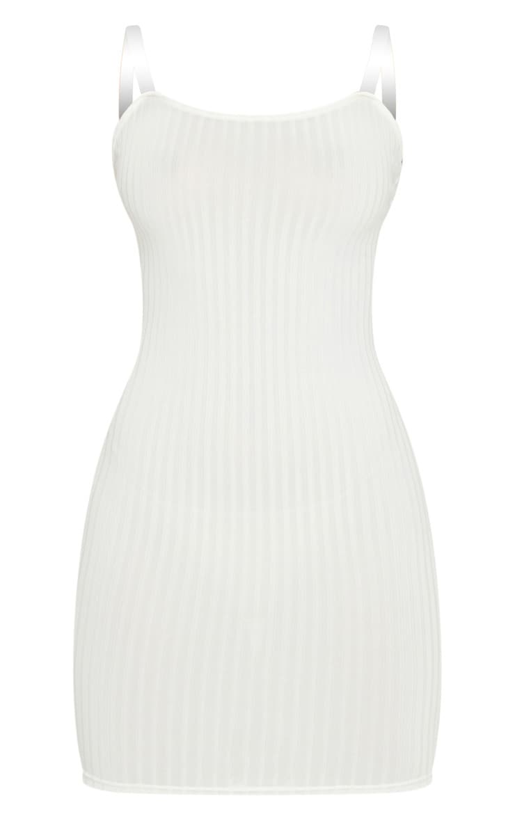 Cream Clear Strap Ribbed Scoop Back Bodycon Dress 5