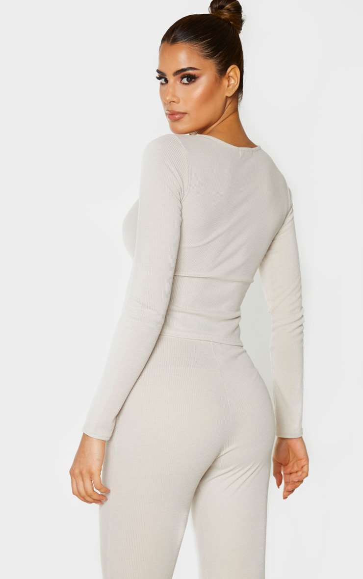 Tall Stone Double Zip Ribbed Long Sleeve Top 3