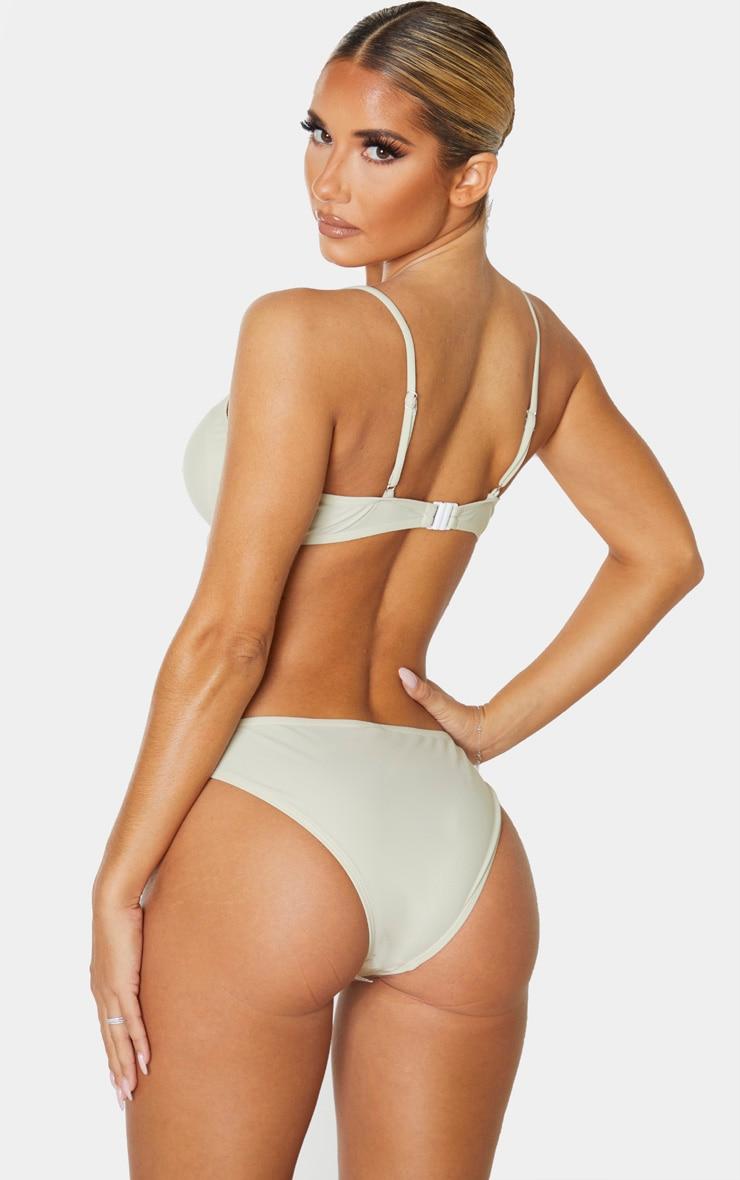 Sage Green Bow Front Cupped Bikini Top 2