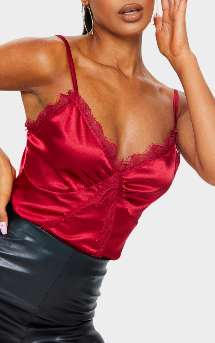 Scarlet Satin Lace Trim Detail Bodysuit 4