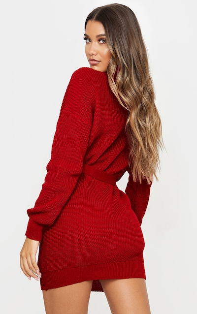 Red Belted Roll Neck Knitted Jumper Dress