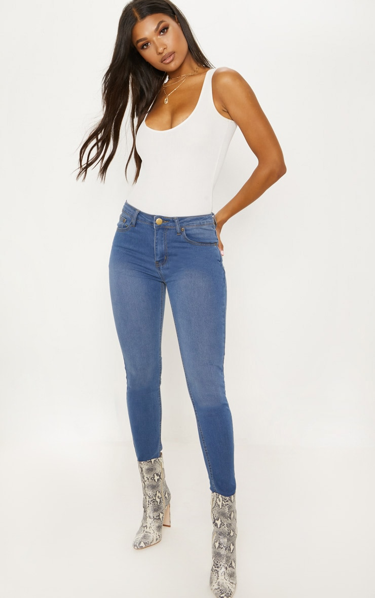Blue Mid Wash Skinny Jeans 1