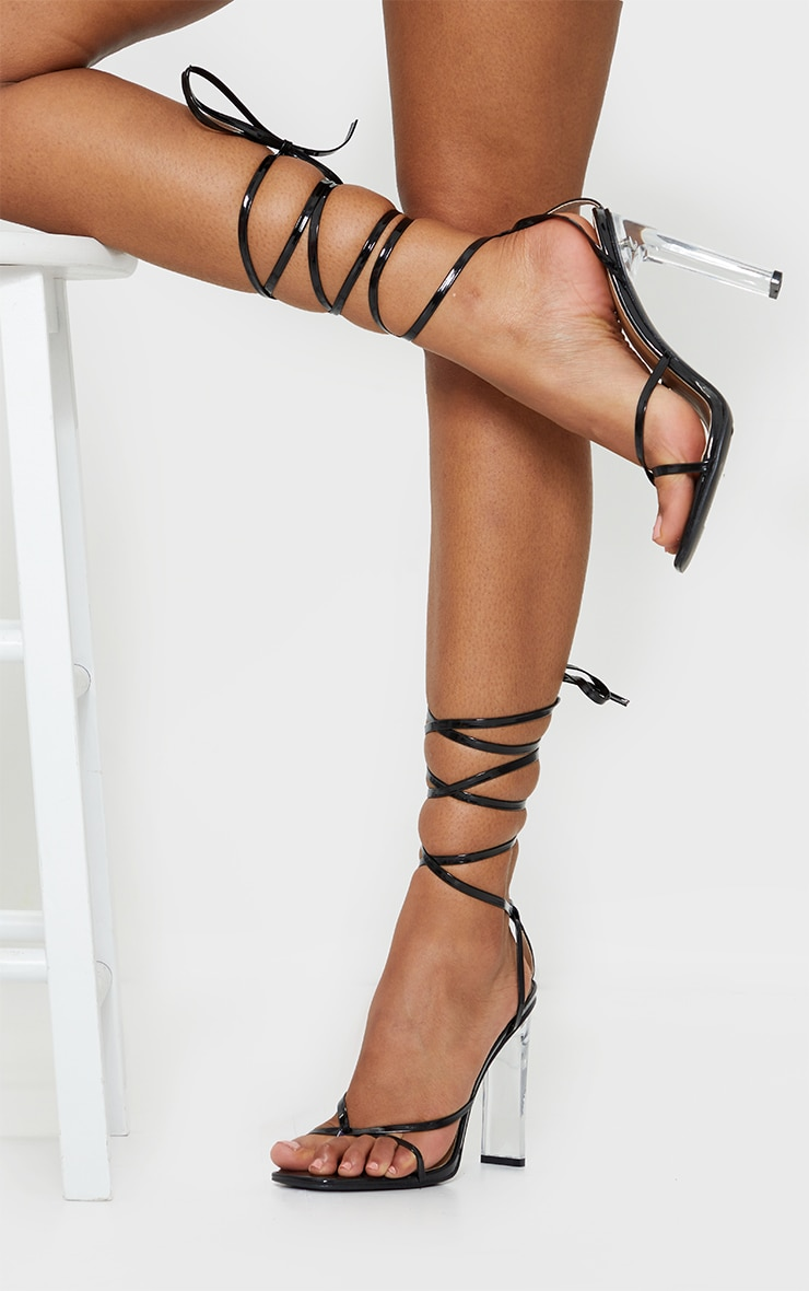 Black Clear Heel Lace Up Heels 2