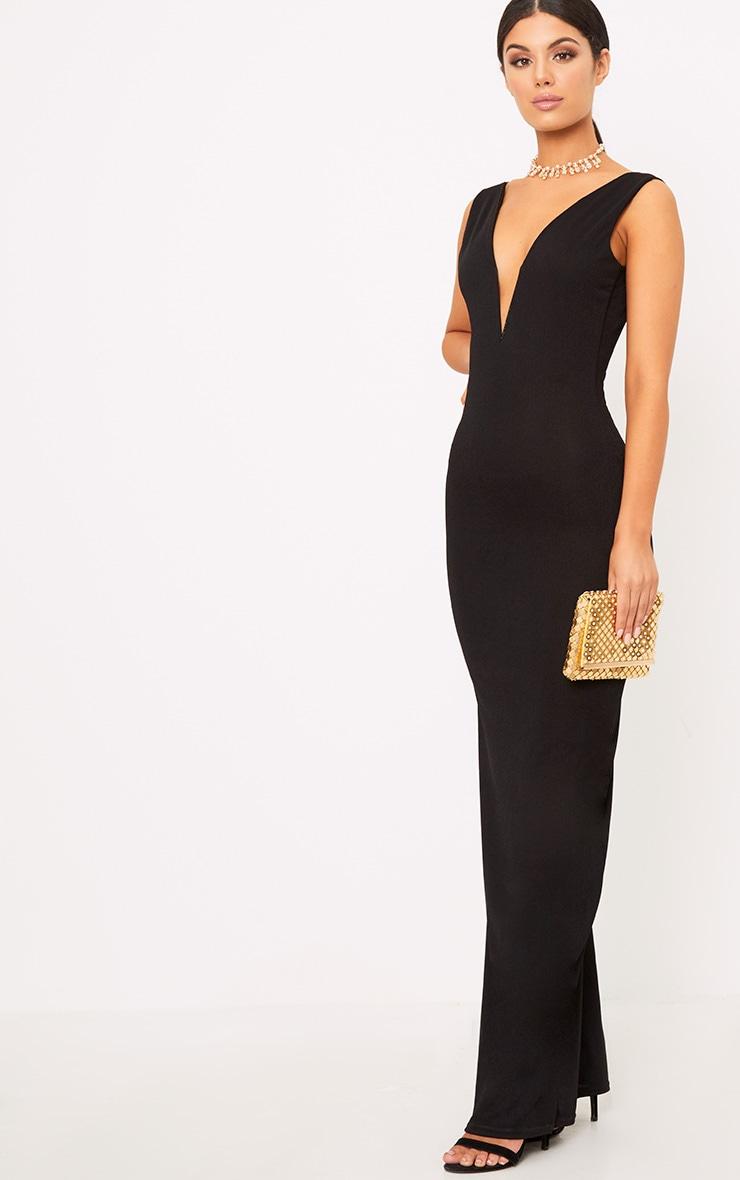 Flossie Black Plunge Maxi Dress 3