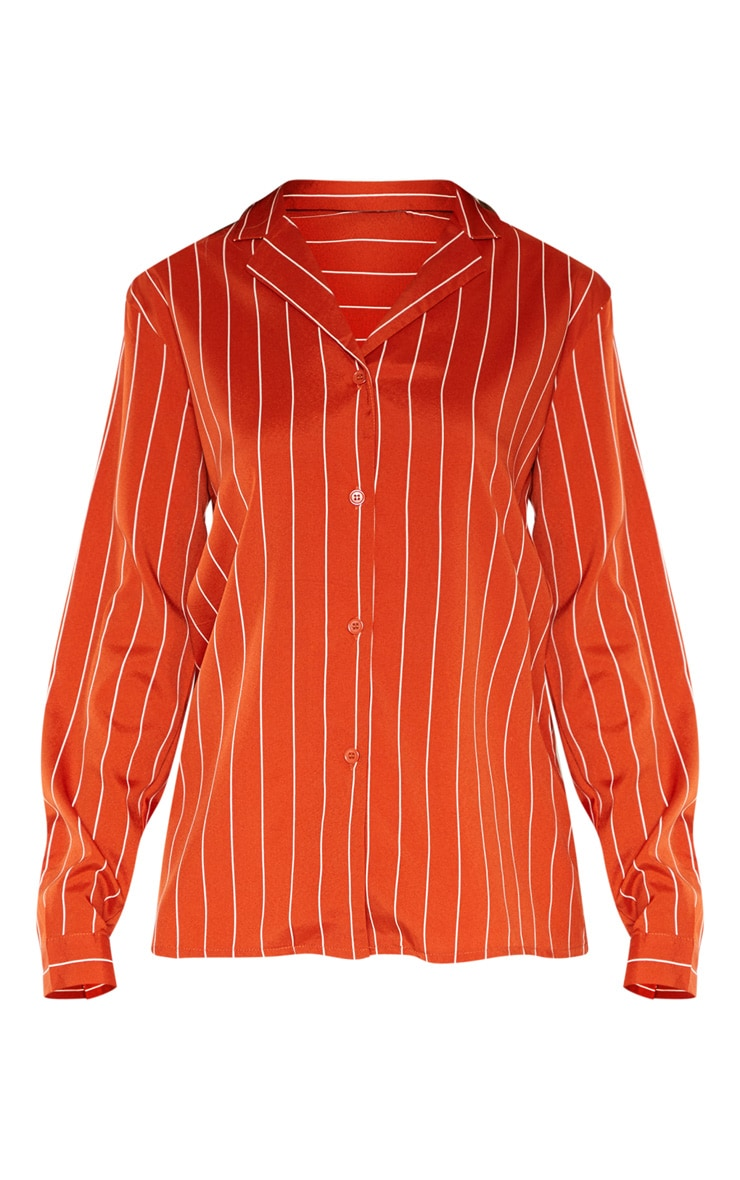 Tall Orange Stripe Print Long Sleeve Shirt 3
