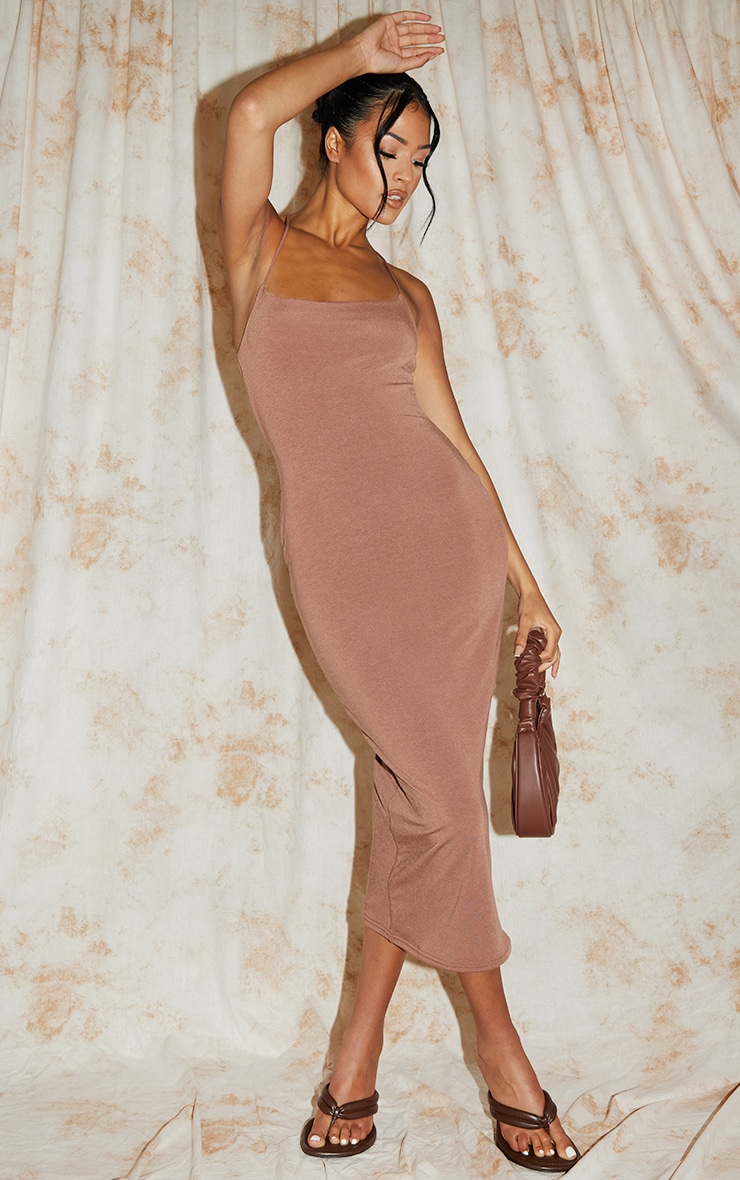 Recycled Tall Nude Contour Jersey Strappy Ruched Midi Dress 1