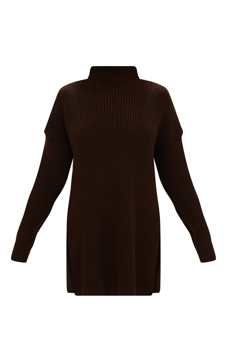 Chocolate Brown High Neck Oversized Jumper 3