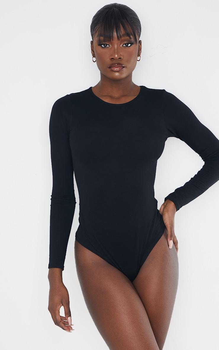 Tall Black Basic Crew Neck Long Sleeve Bodysuit 2