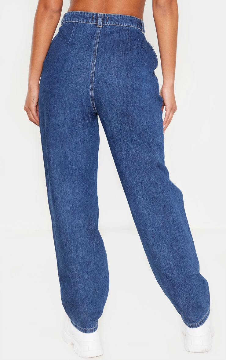 Dark Wash Baggy Cargo Boyfriend Jeans 4