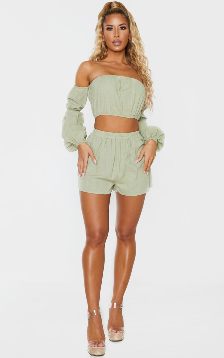 Pale Khaki Linen Look Elasticated Beach Shorts 5