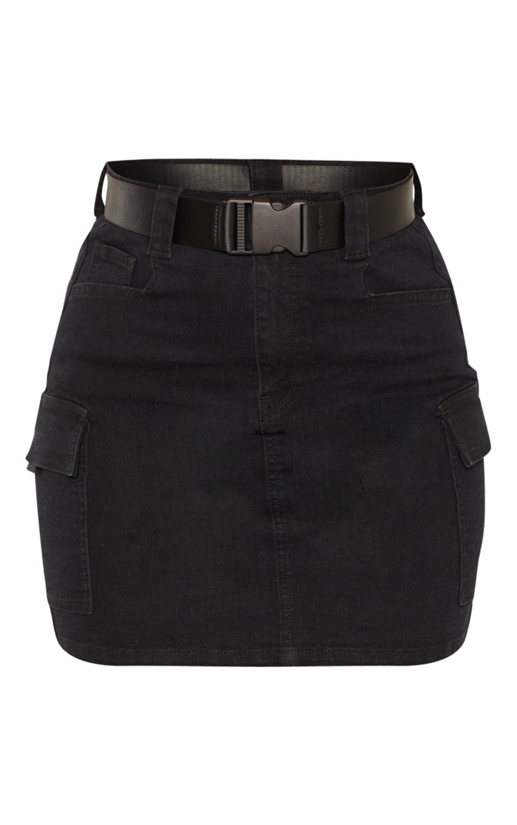 Black Cargo Pocket Belted Denim Skirt 3