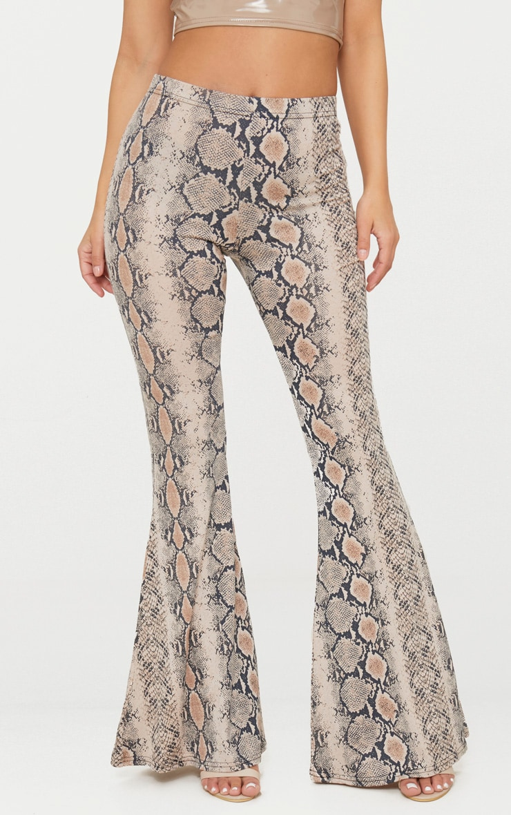 Petite Stone Snake Print Flared Trousers 2