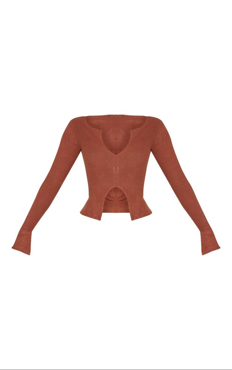 Shape Rust Brushed Rib Long Sleeve Top 5