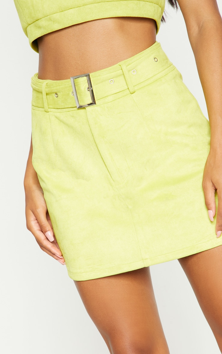 Lime Green Bonded Suede High Waisted Skirt  7