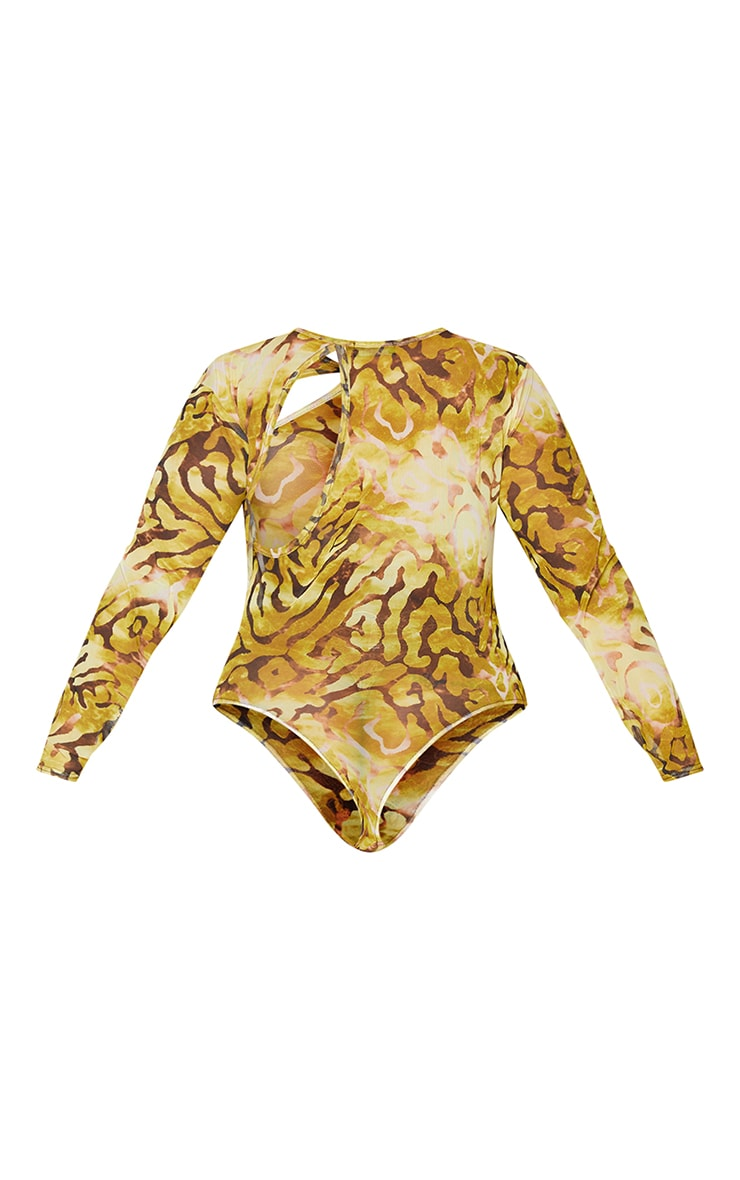 Plus Animal Printed Cut Out Mesh Bodysuit 6
