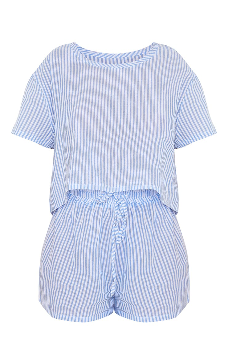 Blue Striped Cotton Cropped Short Sleeve Top And Shorts PJ Set With Scrunchie 5