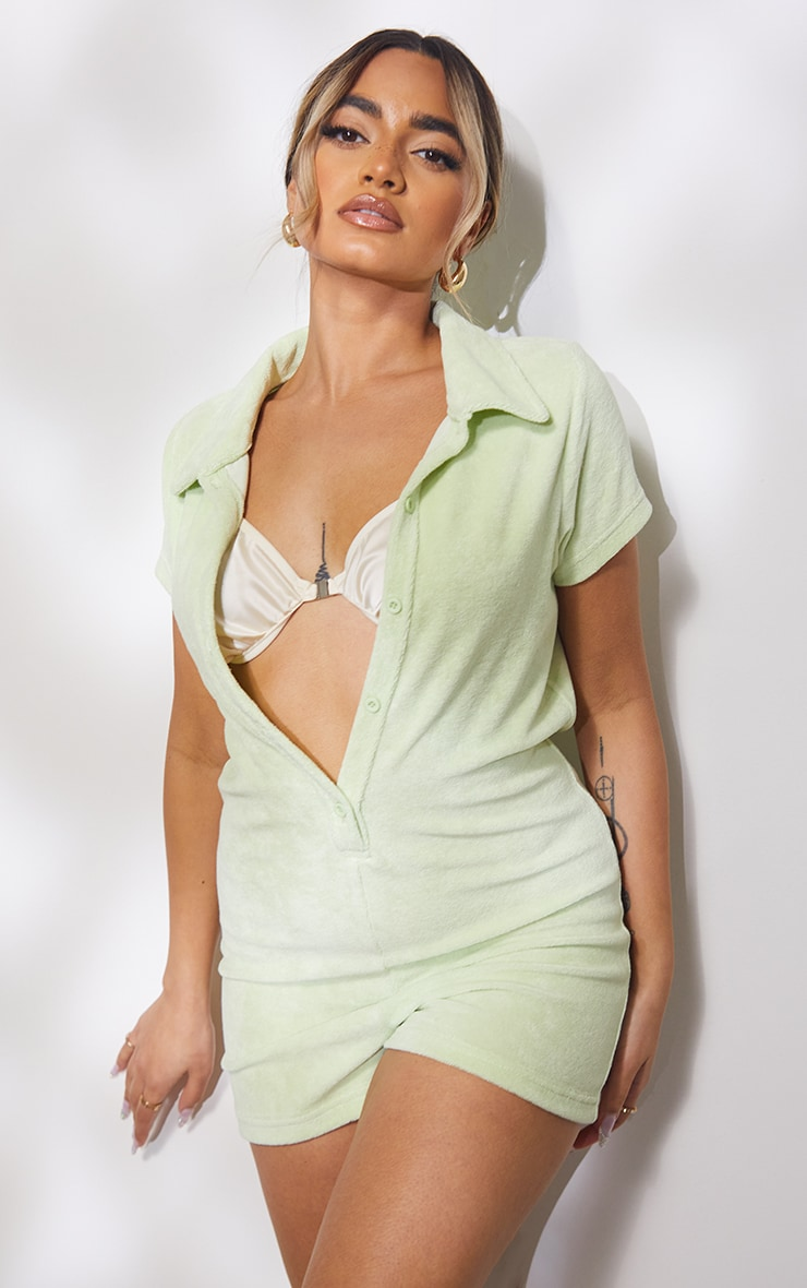Petite Sage Green Towelling Playsuit