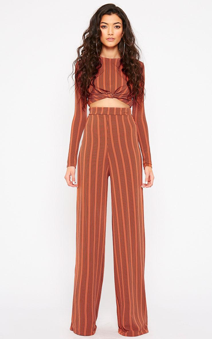 Zafia Rust Stripe Palazzo Trousers 1