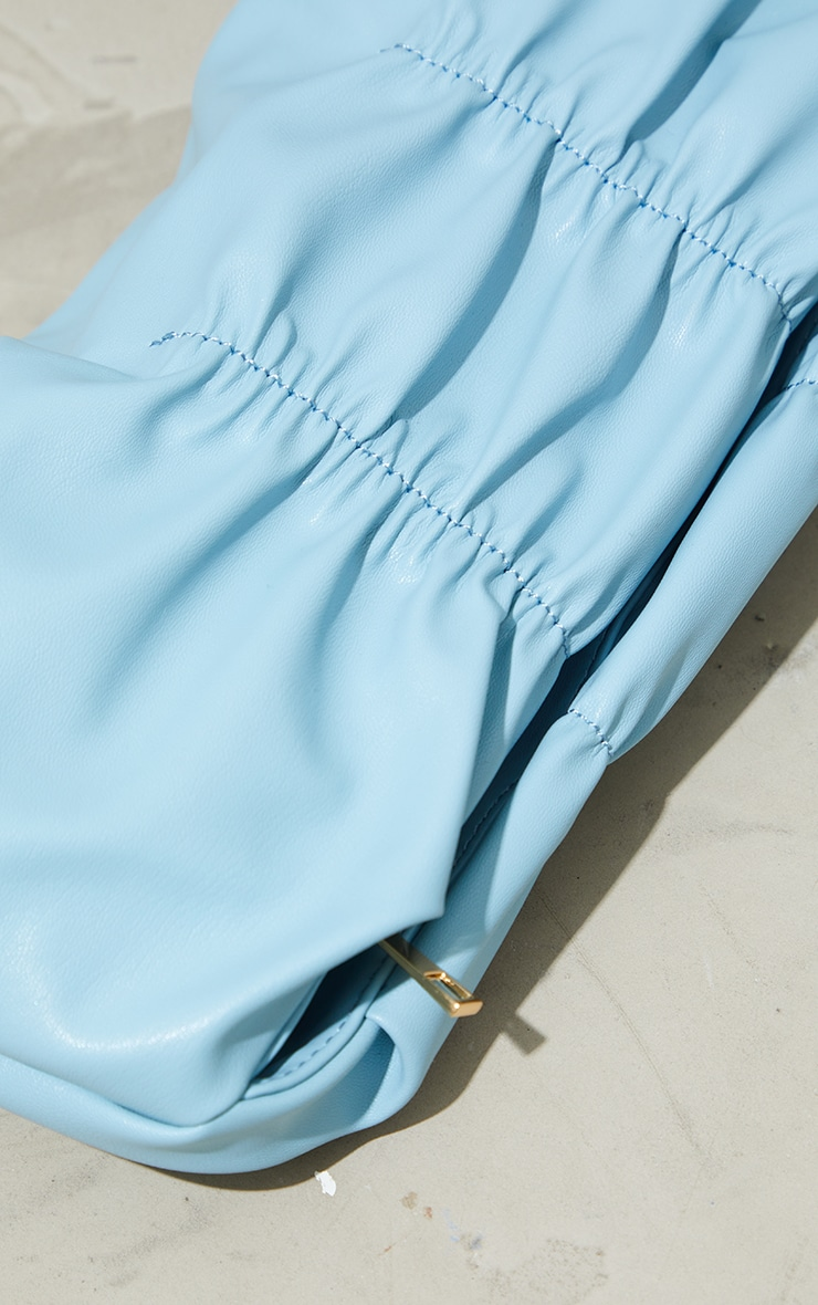 Dusky Blue Pleated Front Oversized Clutch Bag 3
