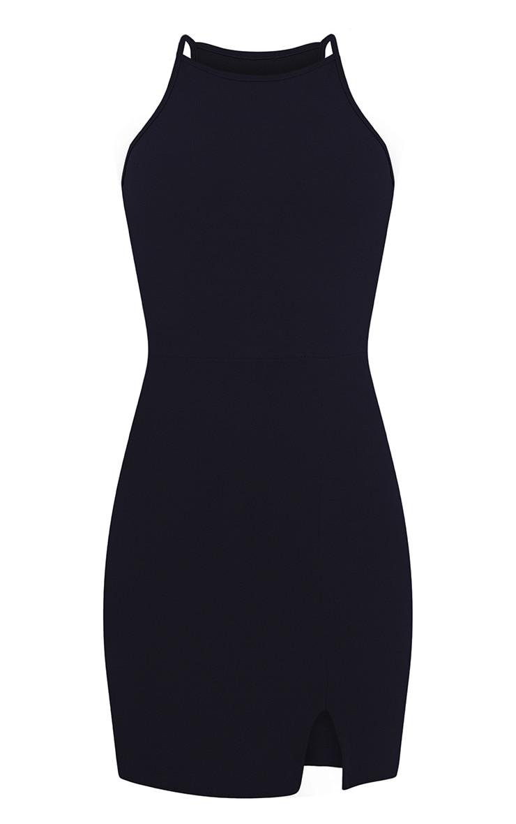 Aniqah Navy High Neck Split Detail Bodycon Dress 3