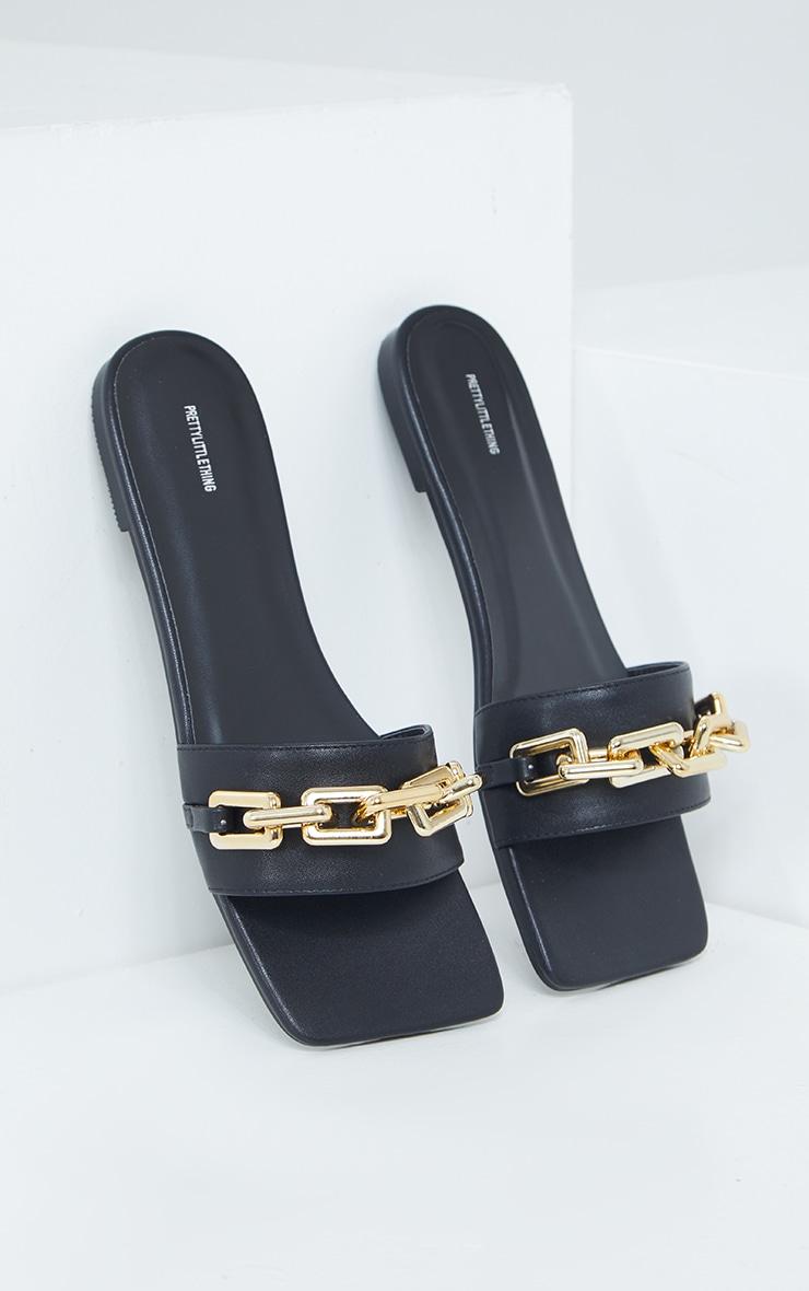 Black Square Toe Chain Detail Leather Mule Flat Sandal 3