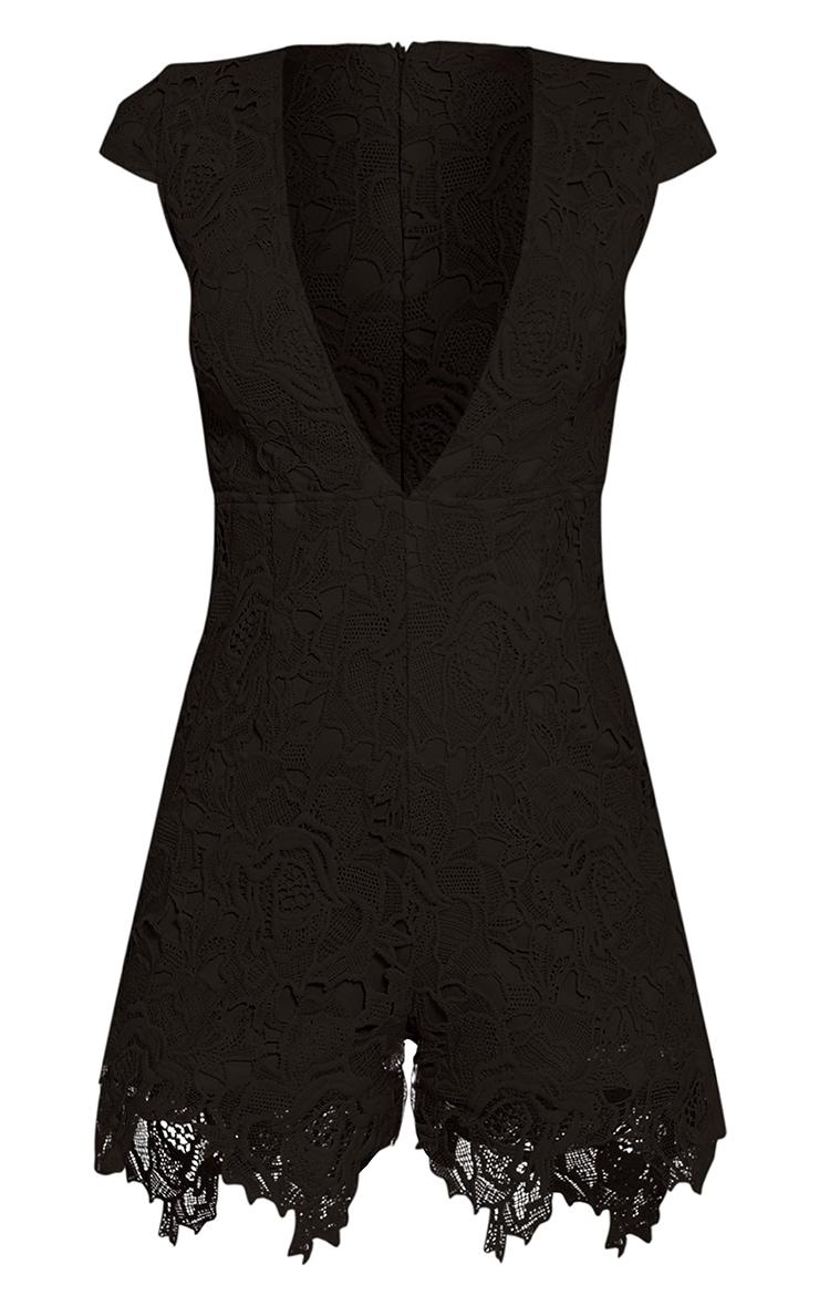 Eleena Black Lace Plunge Playsuit 3