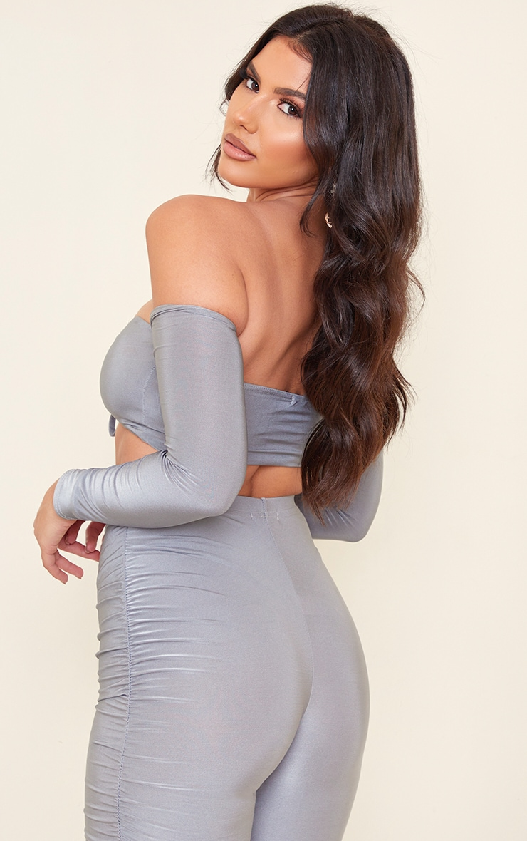 Tall Grey Slinky Bardot Long Sleeve Ruched Cup Crop Top 2