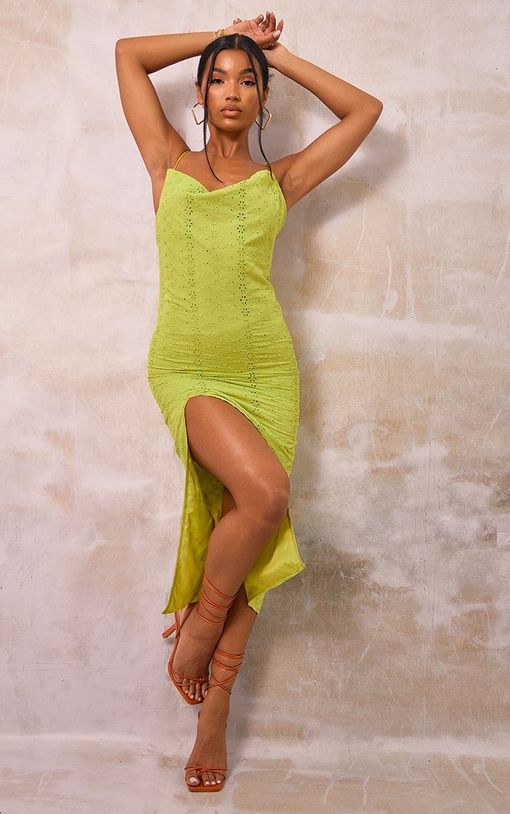 Chartreuse Broderie Anglaise Cowl Neck Strappy Midi Dress 1