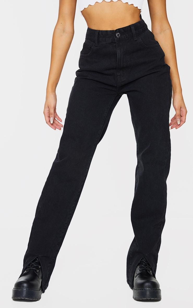 Washed Black Front Split Long Leg Straight Jeans 2