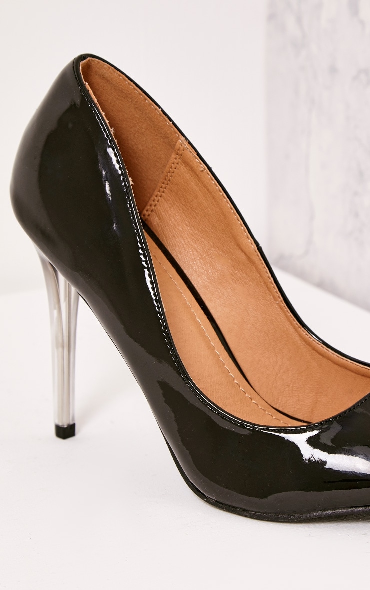 Tasie Black Patent Contrast Perspex Heel Court Shoes 5