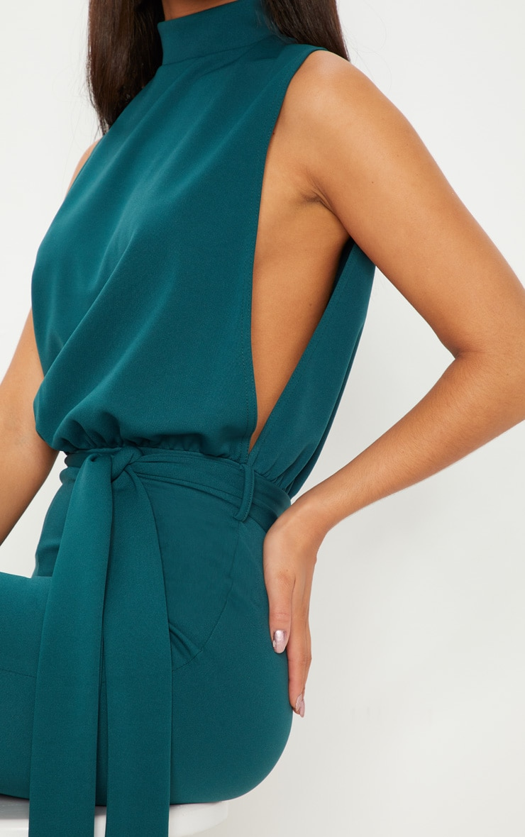 Emerald Green Scuba High Neck Tie Waist Jumpsuit 5