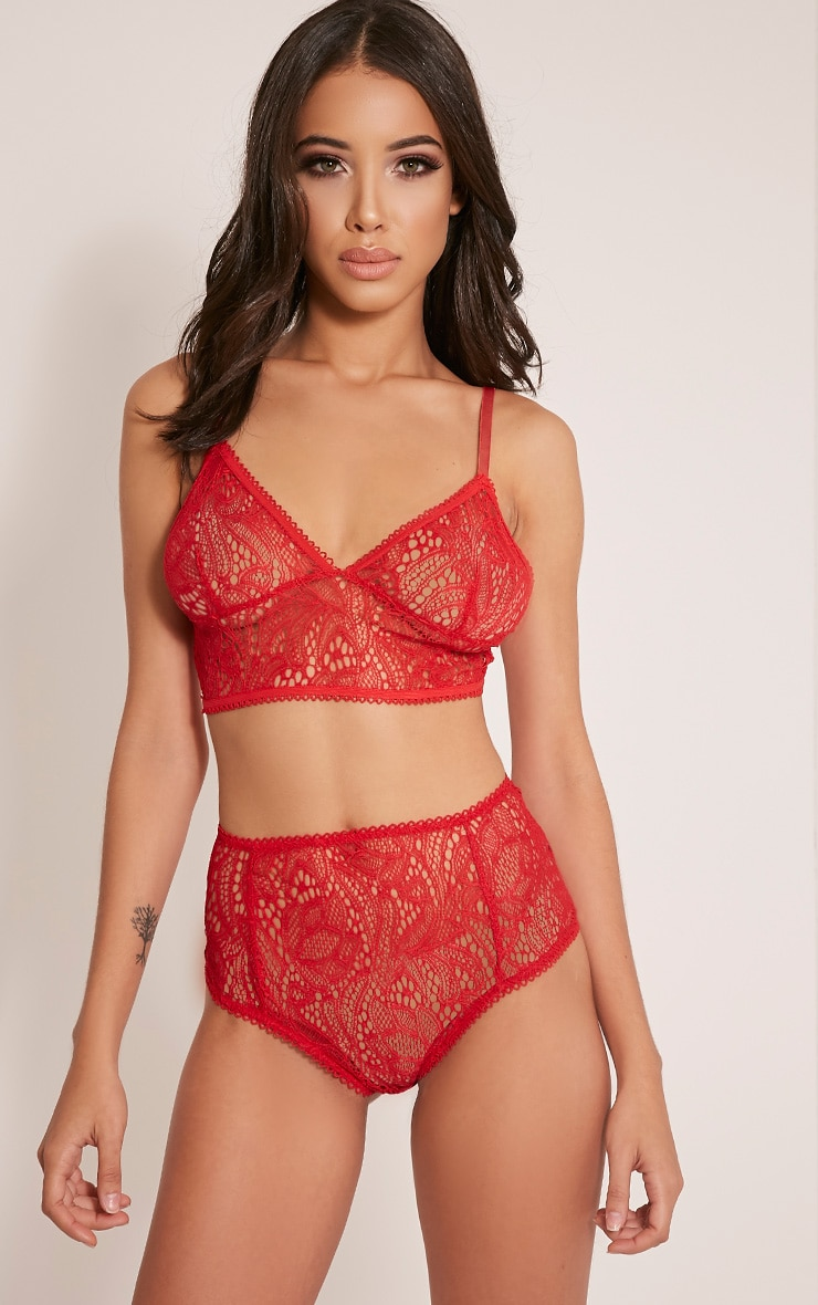 Leena Red Lace High Waisted Knickers 1
