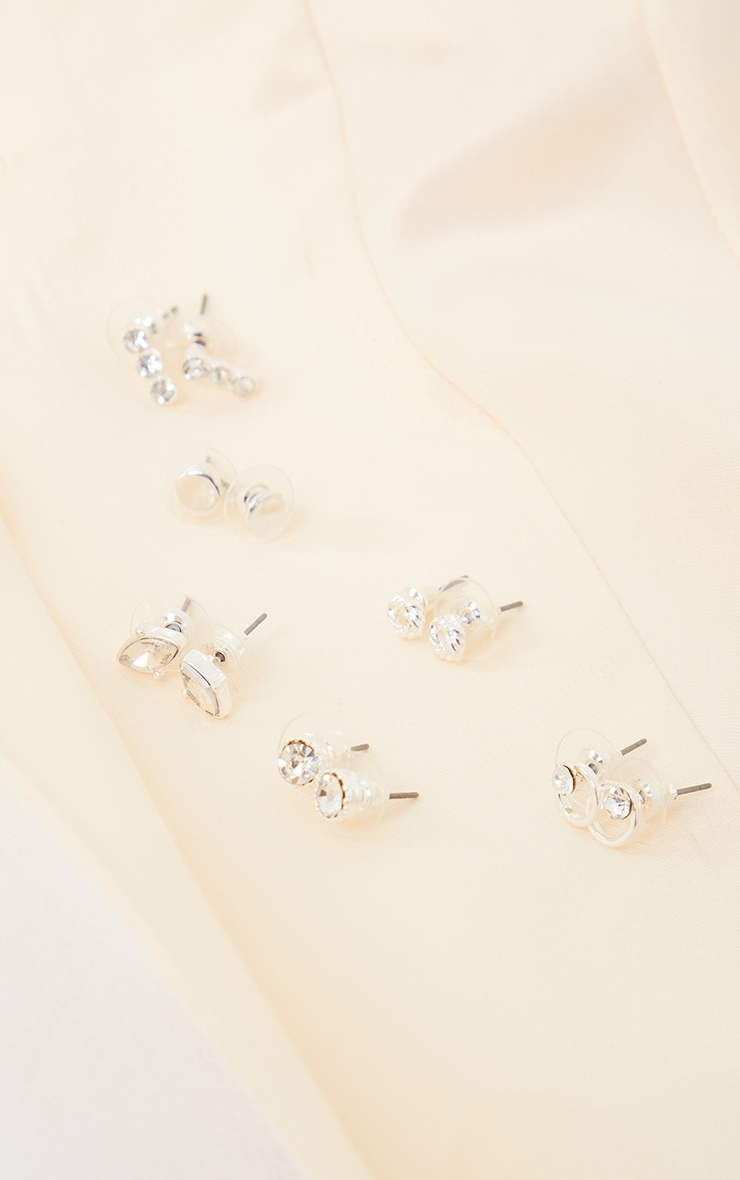 Silver Multi Crystal Small Stud Six Pack 3