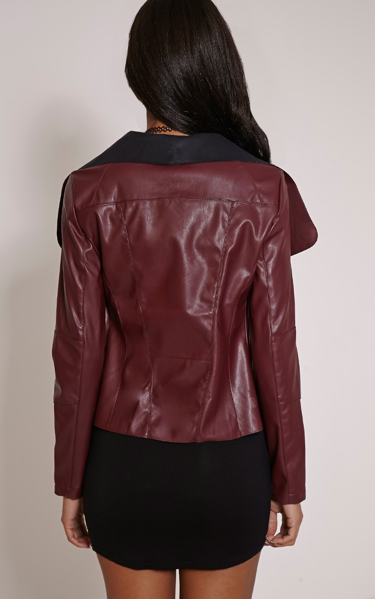 Mischa Burgundy Faux Leather Waterfall Jacket 2