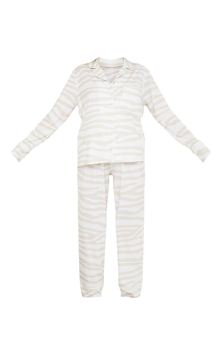 Stone Zebra Oversized Jersey Button Up Long PJ Set 5